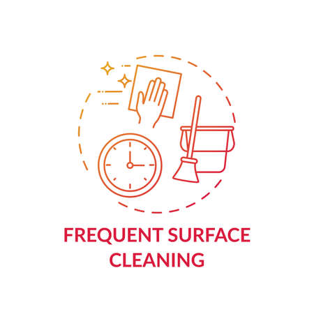 Frequent surface cleaning concept icon. Post-covid beauty salon safety rule idea thin line illustration. Home disinfecting. Preventing coronavirus spreading. Vector isolated outline RGB color drawing