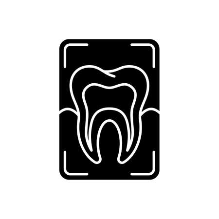 Dental x-ray black glyph icon. Dentistry radiography. Instruments for dental treatment. Dental research technique. Silhouette symbol on white space. Dental care. Vector isolated illustration Vektorové ilustrace