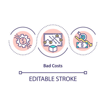 Bad costs concept icon. Expenses that do not match up with company growth strategy and waste resources. Business idea thin line illustration. Vector isolated outline RGB color drawing. Editable stroke