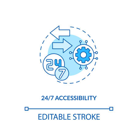 24/7 accessibility concept icon. SaaS advantage idea thin line illustration. Customer-facing technologies. Anytime access. Vector isolated outline RGB color drawing. Editable stroke