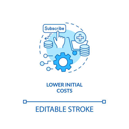 Lower initial costs concept icon. SaaS advantage idea thin line illustration. Eliminating costs for installing, maintaining infrastructure. Vector isolated outline RGB color drawing. Editable stroke
