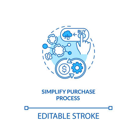 Simplifying purchase process concept icon. SaaS trial idea thin line illustration. Approach to customer acquisition. Subscription buying. Vector isolated outline RGB color drawing. Editable stroke