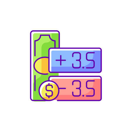 Point spread RGB color icon. Handicap betting. Wagering on event outcome. Winning by specific goals number. Single-game sports betting. Underdog in sporting event. Isolated vector illustration Vector Illustration