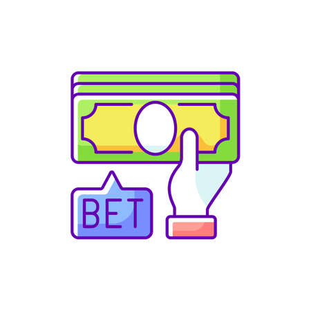 Placing bet RGB color icon. Gambling act. Betting money on sport events. Making wager on outcome. Predicting sporting results. Placing bets to deposit value. Isolated vector illustration
