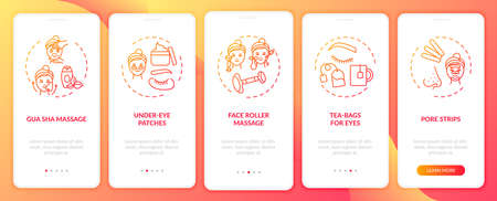 Facial care procedures onboarding mobile app page screen with concepts. Under-eye patches, face roller walkthrough 5 steps graphic instructions. UI vector template with RGB color illustrations