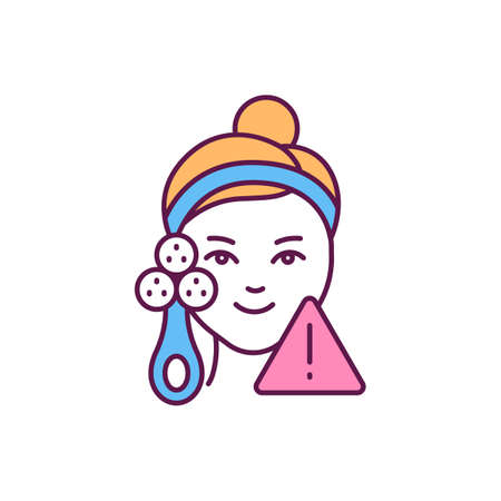 Facial cleansing brusher RGB color icon. Anti-aging skin device. Treating acnes. Eliminating excess sebum. Blood circulation stimulation. Exfoliating dead skin. Isolated vector illustration