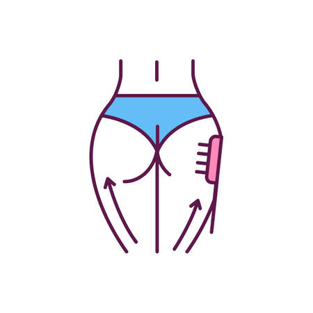 Buttocks lift RGB color icon. Cellulite reducing. Dry body brushing. Anti-aging procedure. Cell regeneration. Stimulating blood circulation. Exfoliating dead skin cells. Isolated vector illustration