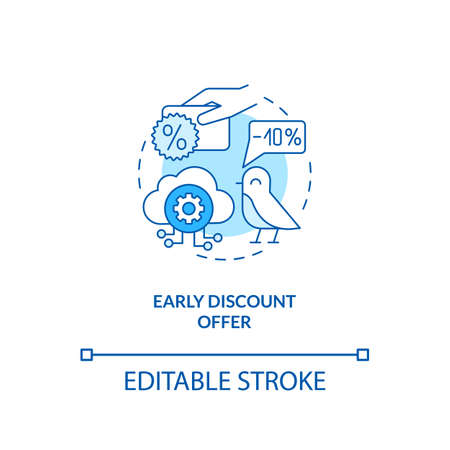 Early discount offer concept icon. Free SaaS trial idea thin line illustration. Special gift, deal, reward. Limited-time offer. Vector isolated outline RGB color drawing. Editable stroke