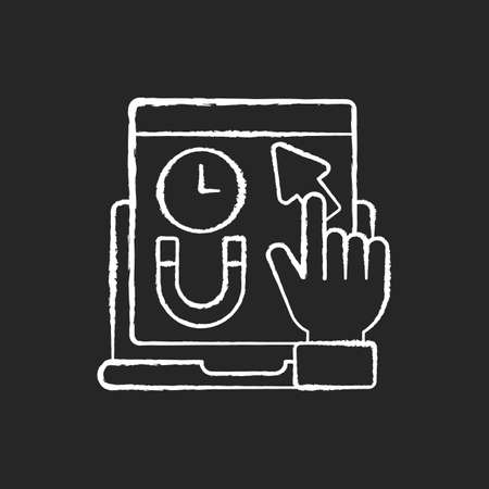 Engagement rate chalk white icon on black background. Shows how long a person stays on your web page. Time spent viewing content on site. Isolated vector chalkboard illustration