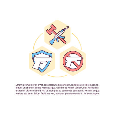 Legal distribution of gun concept icon with text. Protecting your family PPT page vector template. Proper storage of weapons. Brochure, magazine, booklet design element with linear illustrations