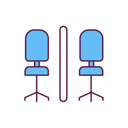 Covid protective screens RGB color icon. Maintaining visual contact. Office partition screens. Creating separating barriers. Protection between tables and desks. Isolated vector illustration