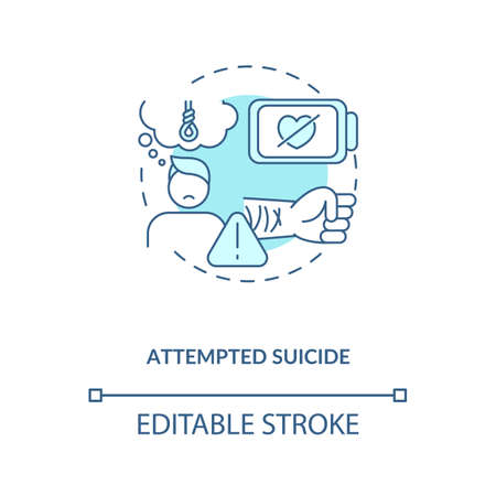 Attempted suicide turquoise concept icon. Psychological trauma. Self inflicted harm. Mental health issue idea thin line illustration. Vector isolated outline RGB color drawing. Editable stroke Illustration