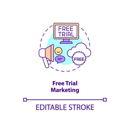 Free trial marketing concept icon. Trying out software for limited time amount idea thin line illustration. Subscription service. Vector isolated outline RGB color drawing. Editable stroke Stock Illustratie