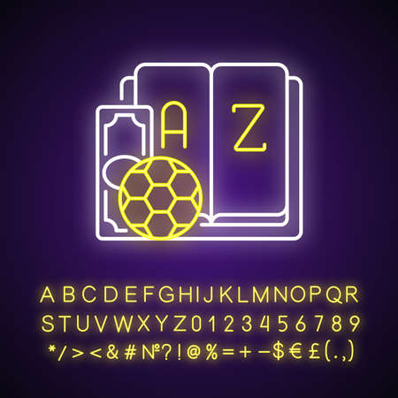 Betting glossary neon light icon. Sports betting terms. Gambling definitions. Phrases meaning. Outer glowing effect. Sign with alphabet, numbers and symbols. Vector isolated RGB color illustration