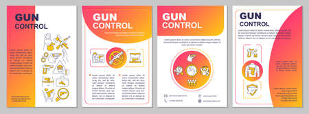 Firearms regulation brochure template. Gun safety rules. Flyer, booklet, leaflet print, cover design with linear icons. Vector layouts for magazines, annual reports, advertising posters Vektoros illusztráció