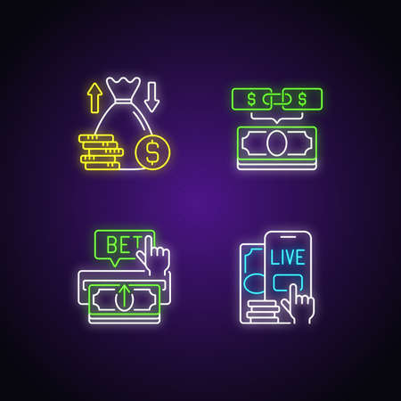 Bookmaking neon light icons set. Over and under bet. Parlay. Making deposit. Live betting. Predicting wager. Game totals. Signs with outer glowing effect. Vector isolated RGB color illustrations