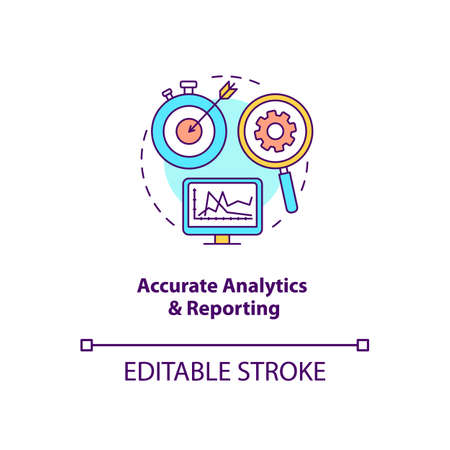 Accurate analytics and reporting concept icon. Forecasting business growth idea thin line illustration. Marketing efforts improvement. Vector isolated outline RGB color drawing. Editable stroke
