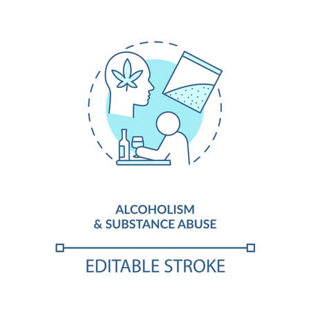 Alcoholism and substance abuse turquoise concept icon. Drug addiction. Bad habit, unhealthy lifestyle idea thin line illustration. Vector isolated outline RGB color drawing. Editable stroke