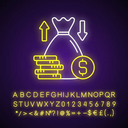 Over and under bet neon light icon. Predicting wager. Higher and lower bettor number. Outer glowing effect. Sign with alphabet, numbers and symbols. Vector isolated RGB color illustration
