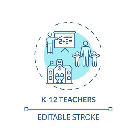 K 12 teachers concept icon. Online teaching jobs types. Learner teaches between kindergarten and twelfth grades idea thin line illustration. Vector isolated outline RGB color drawing. Editable stroke Vektorové ilustrace