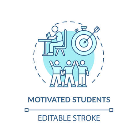Motivated students concept icon. Online tutoring benefits. Be more excited to learn new information idea thin line illustration. Vector isolated outline RGB color drawing. Editable stroke