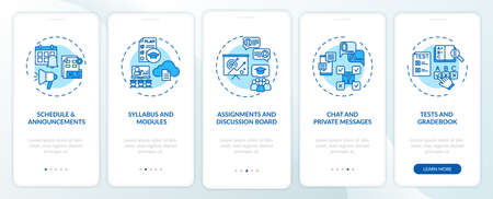Online course management system onboarding mobile app page screen with concepts. Syllabus and modules walkthrough 5 steps graphic instructions. UI vector template with RGB color illustrations Vektorové ilustrace