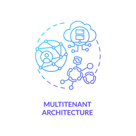 Multitenant architecture concept icon. SaaS advantage idea thin line illustration. Serving multiple tenants. Different cloud customers. Shared systems. Vector isolated outline RGB color drawing 向量圖像