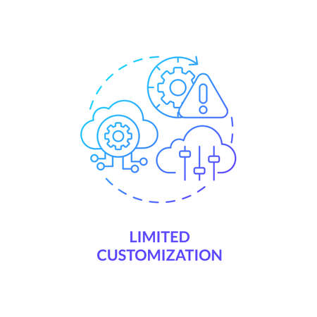 Limited customization concept icon. SaaS challenge idea thin line illustration. Developing software applications process. Offering personalized options. Vector isolated outline RGB color drawing Vektorové ilustrace