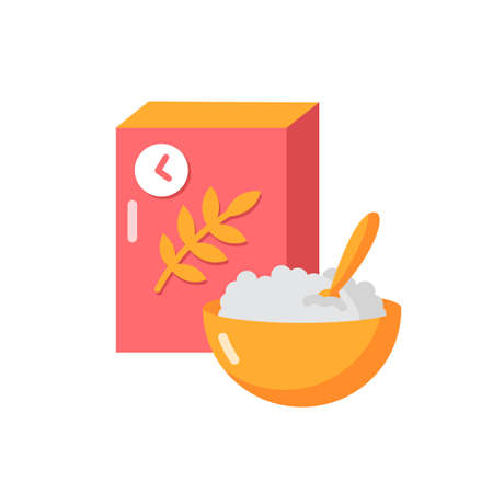Breakfast and cereal vector flat color icon. Fresh muesli in bowl. Flakes products for eating in morning. Lunch meal. Whole grain food. Cartoon style clip art for mobile app. Isolated RGB illustration
