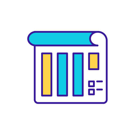Schedule RGB color icon. Statistics document. Warehouse audit and management. Data analysis. Calendar for business administration, organization paperwork. Isolated vector illustration