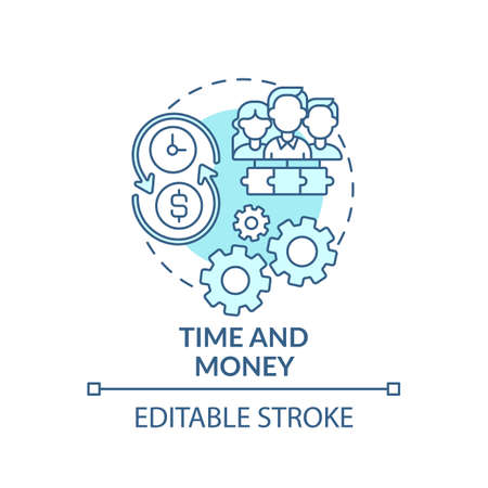 Time and money concept icon. Co-design idea thin line illustration. Investing in approaches. Paying people for time and any expenses. Vector isolated outline RGB color drawing. Editable stroke