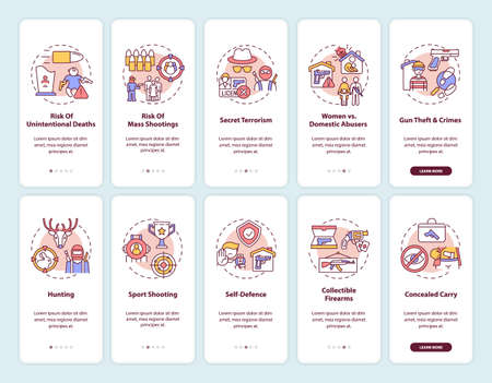 Gun control onboarding mobile app page screen with concepts. Firearm ownership. Weapon use risks and danger walkthrough 5 steps graphic instructions. UI vector template with RGB color illustrations