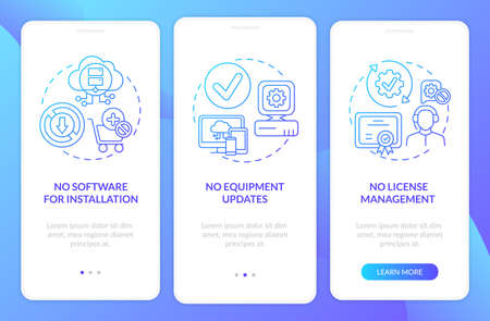 SaaS pluses onboarding mobile app page screen with concepts. No equipment updates, licenses walkthrough 3 steps graphic instructions. UI vector template with RGB color illustrations