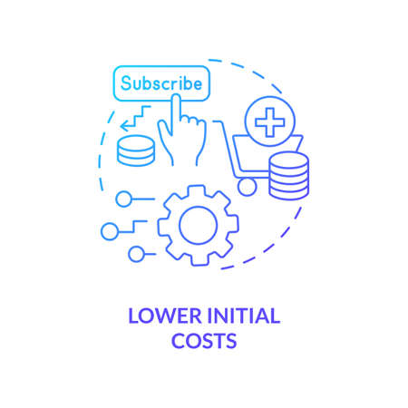 Lower initial costs concept icon. SaaS advantage idea thin line illustration. Pricing strategy. Small budget. Monthly operating expenses. Financial barrier. Vector isolated outline RGB color drawing