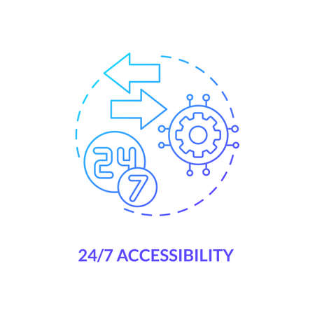24/7 accessibility concept icon. SaaS advantage idea thin line illustration. Building engagement with users. 24/7 monitoring team. Anytime access. Vector isolated outline RGB color drawing