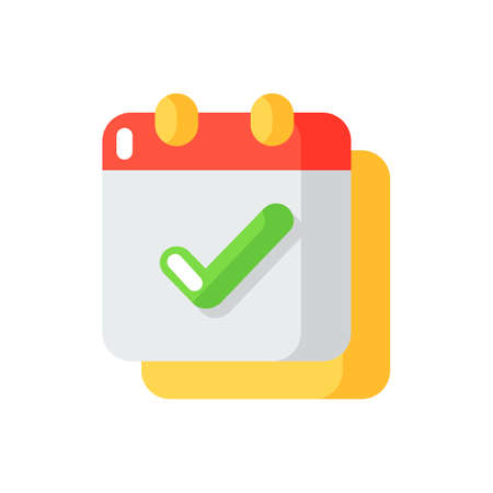 Calendar app vector flat color icon. Schedules and time management. Complete task. Planned events reminder. Dates organization. Cartoon style clip art for mobile app. Isolated RGB illustration