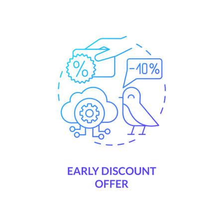 Early discount offer concept icon. SaaS trial idea thin line illustration. Pricing discounts for revenue growth. Discounting capability. Limited-time offer. Vector isolated outline RGB color drawing