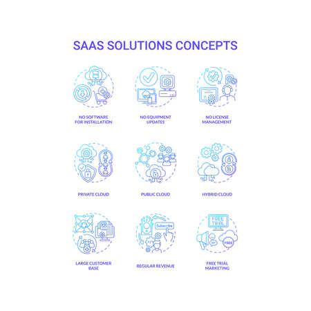 SaaS solutions concept icons set. Software as service idea thin line RGB color illustrations. Public, private cloud. No software for setup. Large customer base. Vector isolated outline drawings