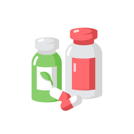 Pharmacy vector flat color icon. Pills in containers. Herbal drugs. Health care. Diet supplements. Pharmaceutical products in bottles. Cartoon style clip art for mobile app. Isolated RGB illustration