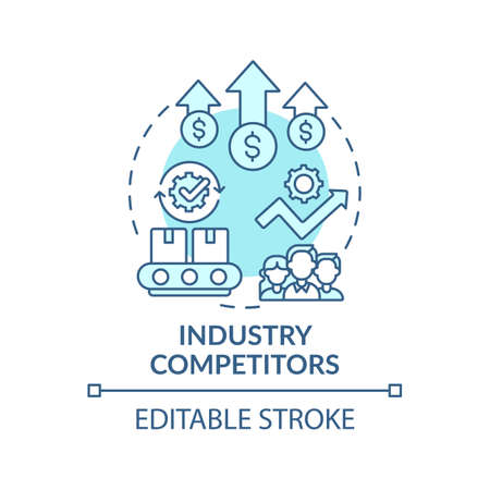 Industry competitors concept icon. Competitive rivalry idea thin line illustration. Extending competition among existing firms. Vector isolated outline RGB color drawing. Editable stroke