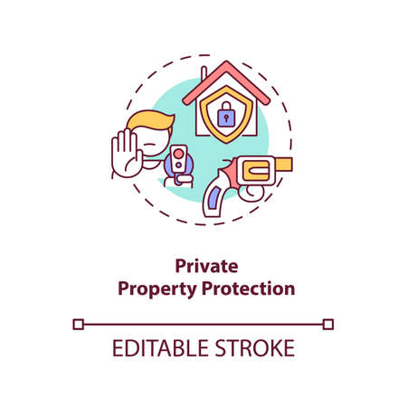 Private property protection concept icon. Firearm for defense. Personal safety, weapon for security. Gun control idea thin line illustration. Vector isolated outline RGB color drawing. Editable stroke