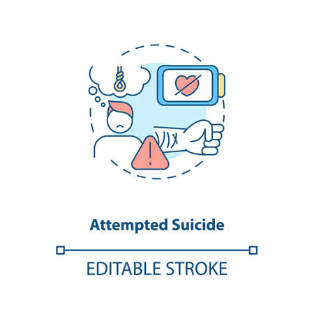 Attempted suicide concept icon. Psychological trauma, suffering. Self inflicted harm. Mental health issue idea thin line illustration. Vector isolated outline RGB color drawing. Editable stroke Illustration