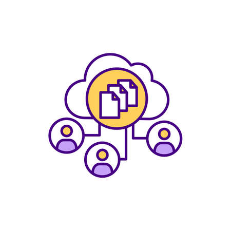 SaaS project management RGB color icon. Planning, collaborating, monitoring. Managing projects, tasks and workers in cloud computing environment. Coordinating activities. Isolated vector illustration Ilustración de vector