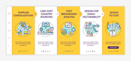 Cost reduction strategies onboarding vector template. Supplier consolidation. Design to cost. Responsive mobile website with icons. Webpage walkthrough 5 steps screens. RGB color concept