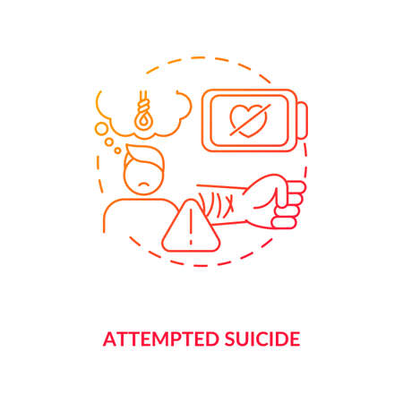 Attempted suicide red gradient concept icon. Psychological trauma, suffering. Self inflicted harm. Mental health issue idea thin line illustration. Vector isolated outline RGB color drawing