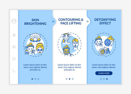 Skin care treatment effects onboarding vector template. Skin brightening and whitening. Face lifting. Responsive mobile website with icons. Webpage walkthrough step screens. RGB color concept