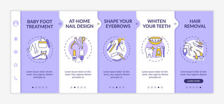 At-home beauty therapy onboarding vector template. Baby foot treatment. Shaping eyebrows. Hair removal. Responsive mobile website with icons. Webpage walkthrough step screens. RGB color concept