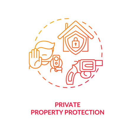 Private property protection red gradient concept icon. Firearm for defense. Personal safety, weapon for security. Gun control idea thin line illustration. Vector isolated outline RGB color drawing