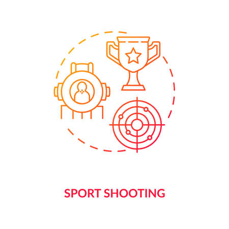 Sport shooting red gradient concept icon. Marksmanship competition. Championship at range shooting. Gun control idea thin line illustration. Vector isolated outline RGB color drawing
