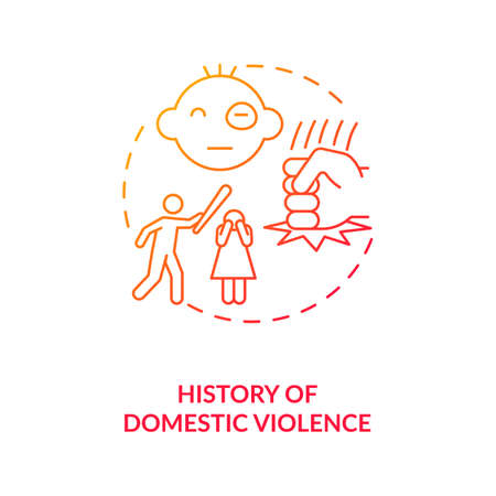 History of domestic violence red gradient concept icon. Violent behavior. Aggressive offense. Record of physical assault idea thin line illustration. Vector isolated outline RGB color drawing